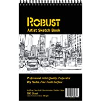 Robust 400 series Sketch book,100sheets Sketch Pad,180gsm drawing notebook, Art paper for Dry and Wet Media, Drawing…