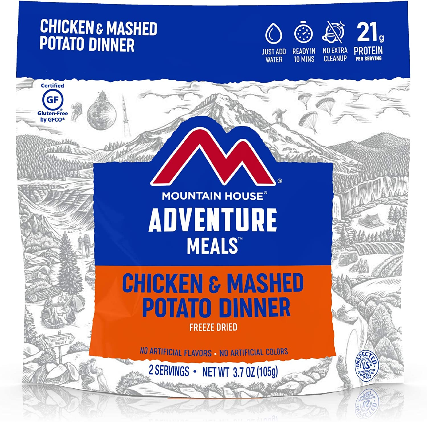 Mountain House Chicken & Mashed Potato Dinner Gluten| Freeze Dried Backpacking & Camping Food | Survival & Emergency Food | Gluten-Free