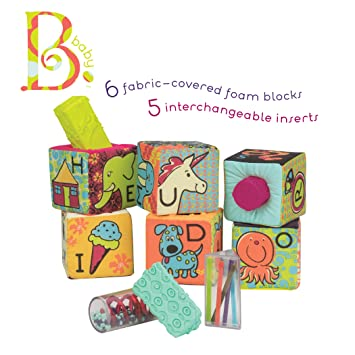 B  toys – aBc Block Party Baby Blocks – Soft Fabric Building Blocks for  Toddlers – Educational Alphabet Blocks with 6 Toy Blocks and 5 Shapes