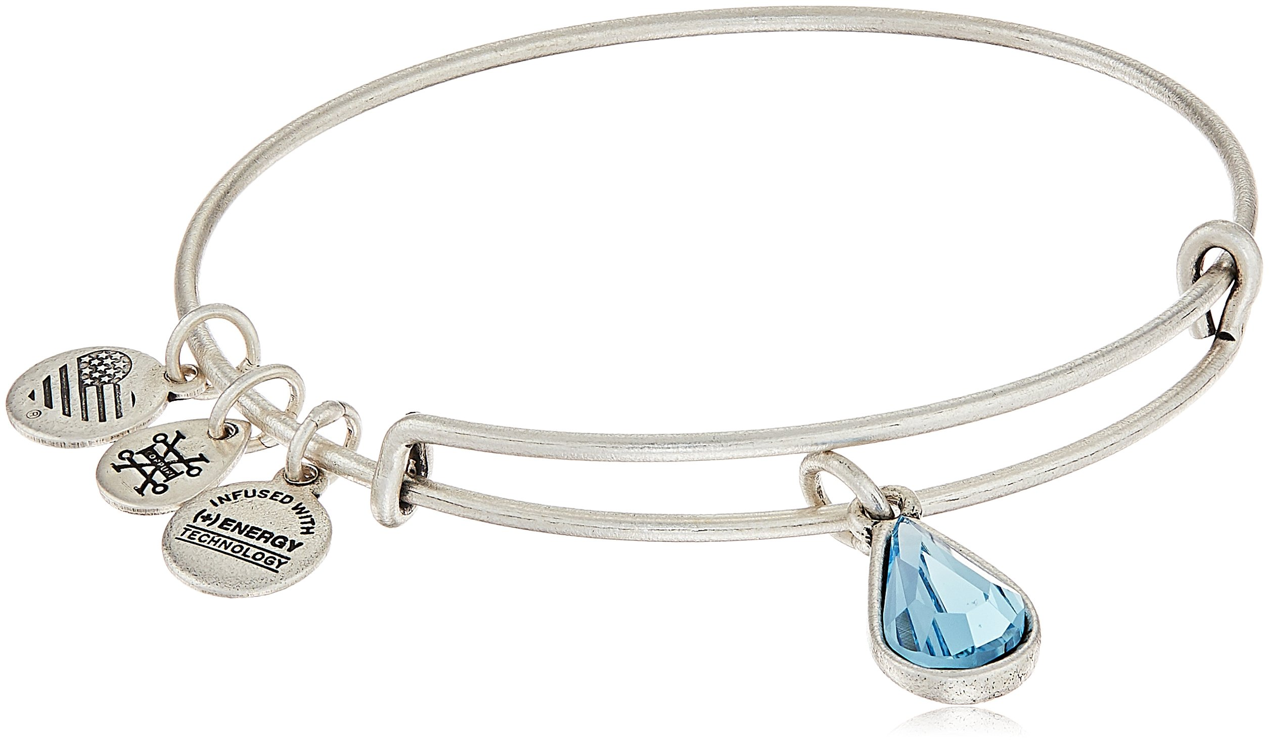 Alex and Ani March Birth Month Charm with Swarovski Crystal Rafaelian Silver Bangle Bracelet