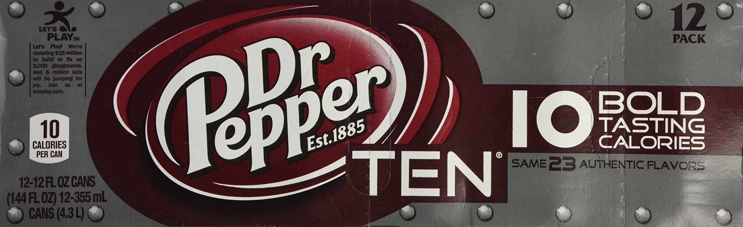 Dr. Pepper TEN soda pop, 12-pack fridge pack, 12-ounce cans