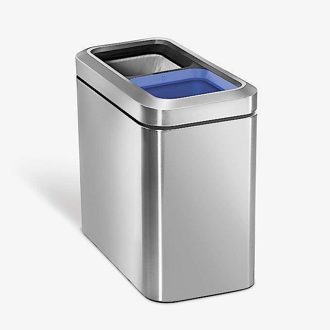 NEW Simplehuman Dual Compartment Rectangular Recycler Bin 46L