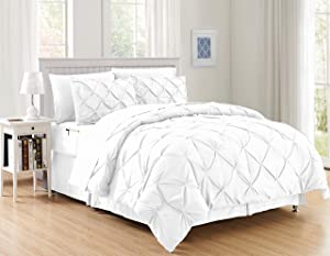 Elegant Comfort Luxury Best, Softest, Coziest 8-Piece Bed-in-a-Bag Comforter Set on Amazon Silky Soft Complete Set Includes Bed Sheet Set with Double Sided Storage Pockets, Full/Queen, White