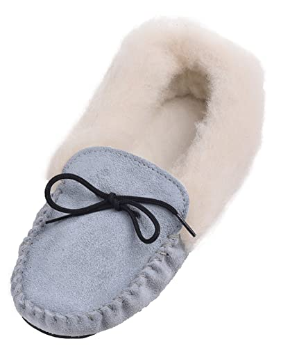 Lambland Ladies Womens Genuine Suede Moccasin Slippers Sheepskin Wool Hard Sole