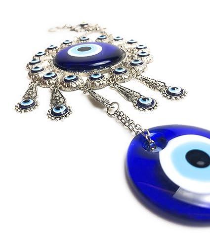 Turkish Blue Evil Eye Nazar Wall Decor, Protection Good Luck Blessing  Housewarming Charm, Flower Design Hanging Ornament, Home Decor Turkish  Amulet