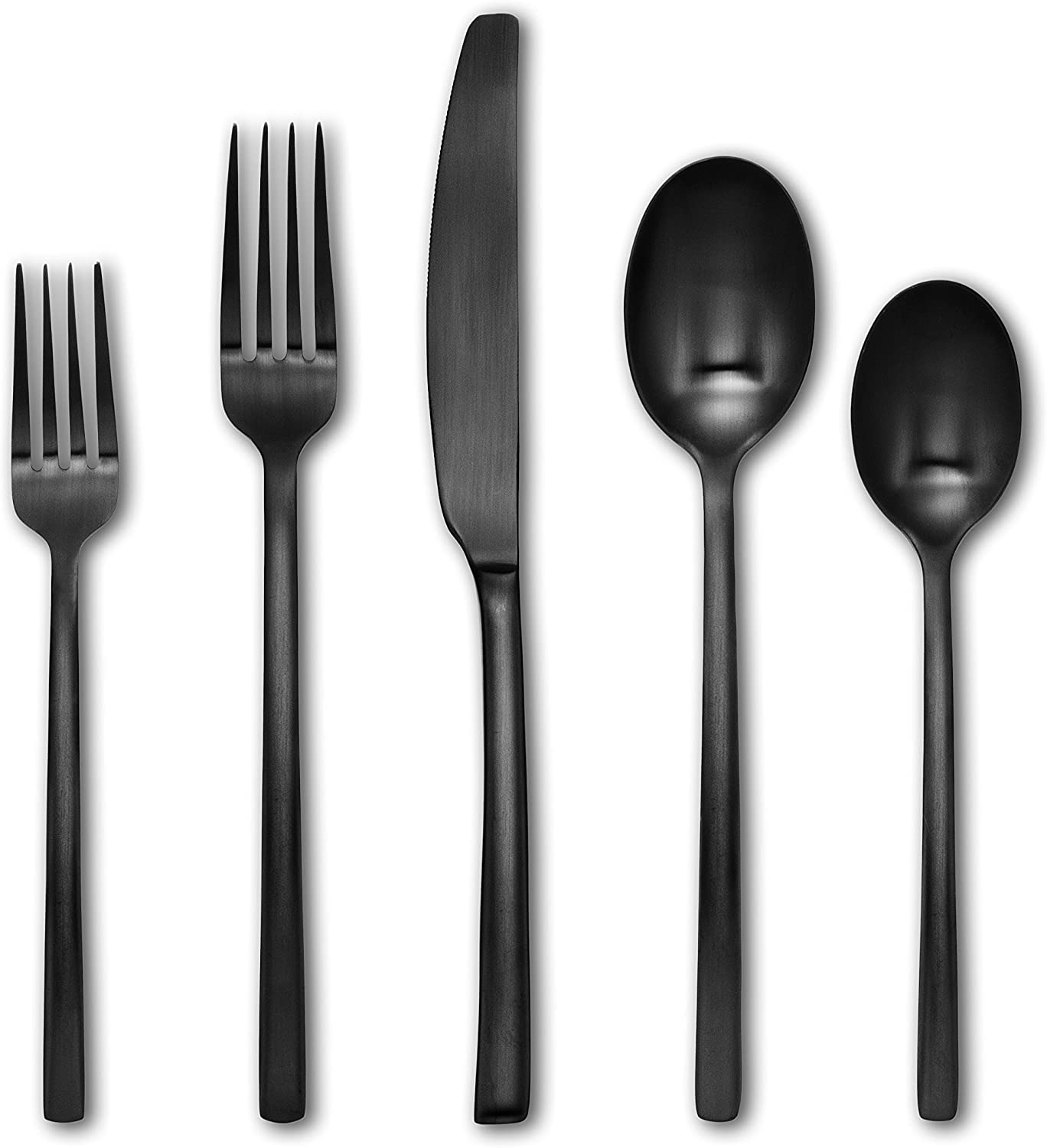 Cambridge Silversmiths 286620HGY12XR Beacon Flatware Silverware Set, Black Satin, Service for 4, Includes Forks/Spoons/Knives, 20 Piece