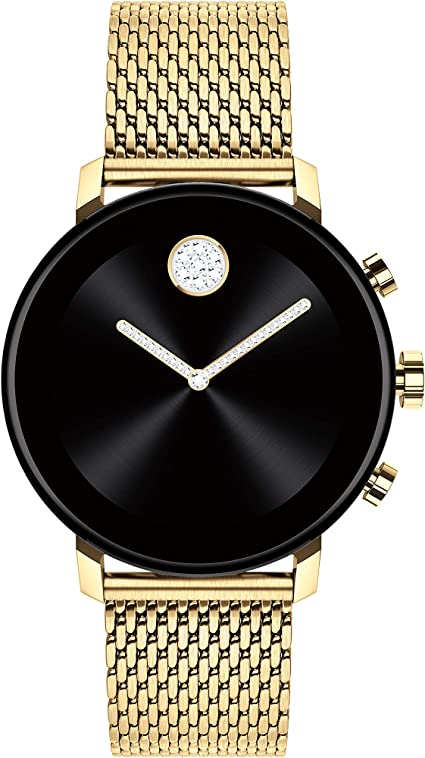 Movado Connect 2.0 Unisex Powered with Wear OS by Google Stainless Steel and Ionic Light Gold 2 Plated Steel Smartwatch, Color: Yellow (Model: ...
