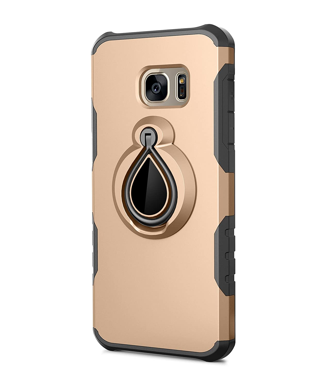Case Compatible with Samsung Galaxy S7 Slim Shockproof TPU Phone Cover with Ring Magnetic Car Mount Bumper for Galaxy S7