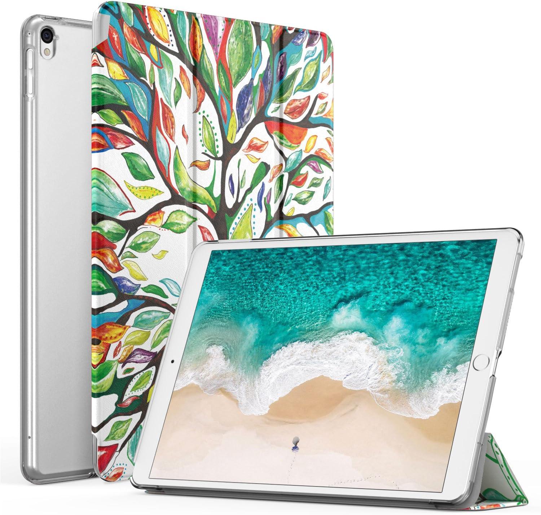 MoKo Funda para Nuevo iPad Pro 12.9 2017 - Ultra Slim Función de Soporte Protectora Plegable Smart Cover Trasera Transparente Durable con Auto Estela/Sueño - Álbo de la Suerte