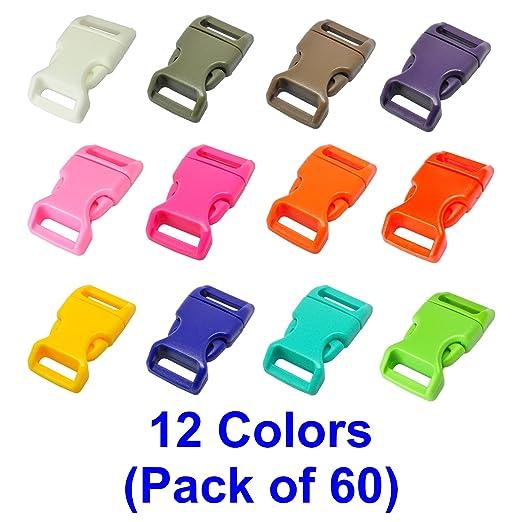 """25 opinioni per Fibbie Plastica, LIHAO 60 pezzi 5/8"""" Fibbie a Scatto Plastica 12 Colori per"""