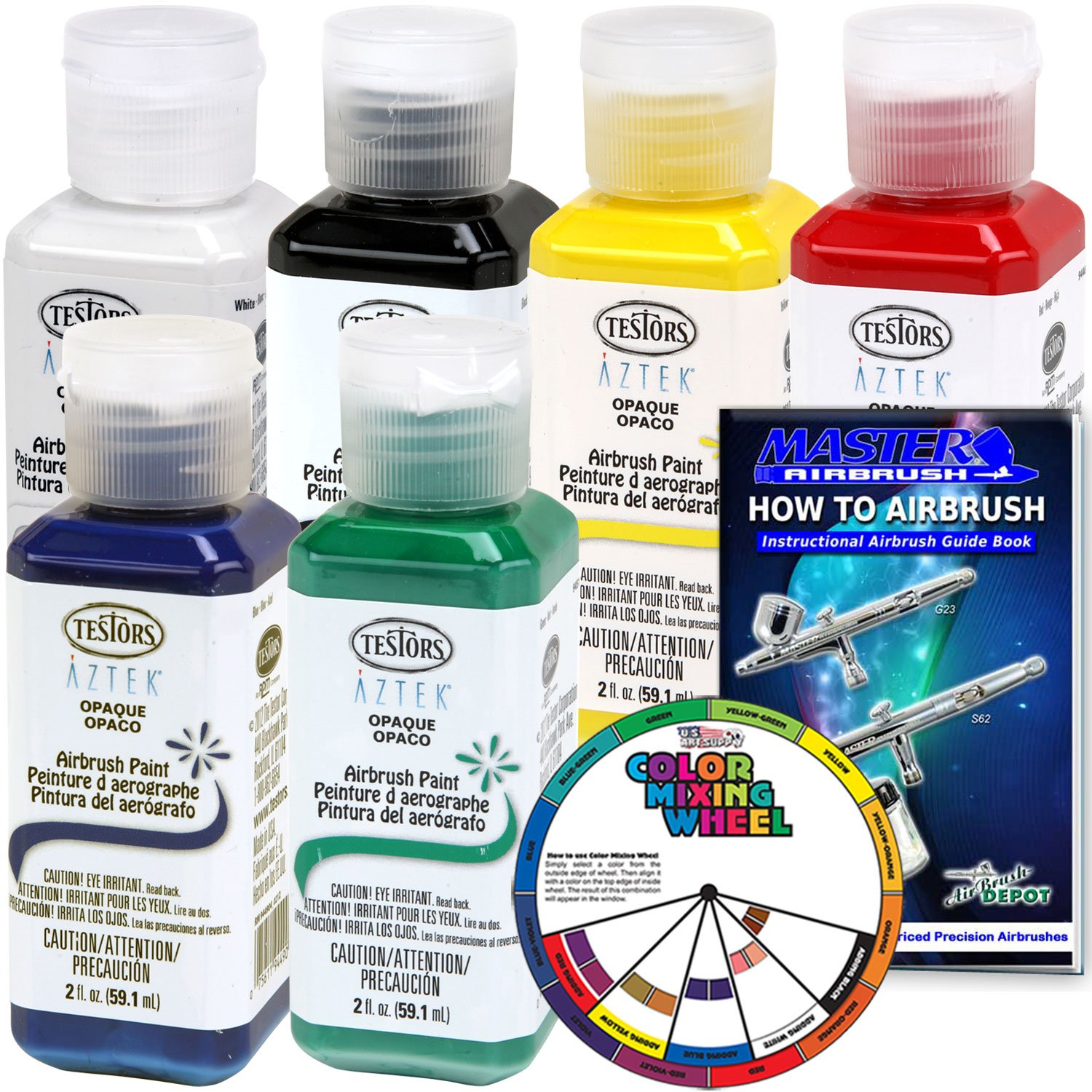 6 Color - Testors Aztek Premium Opaque Semi-Gloss Acrylic Airbrush Paint Set with Color Mixing Wheel and How to Airbrush Manual by Testors