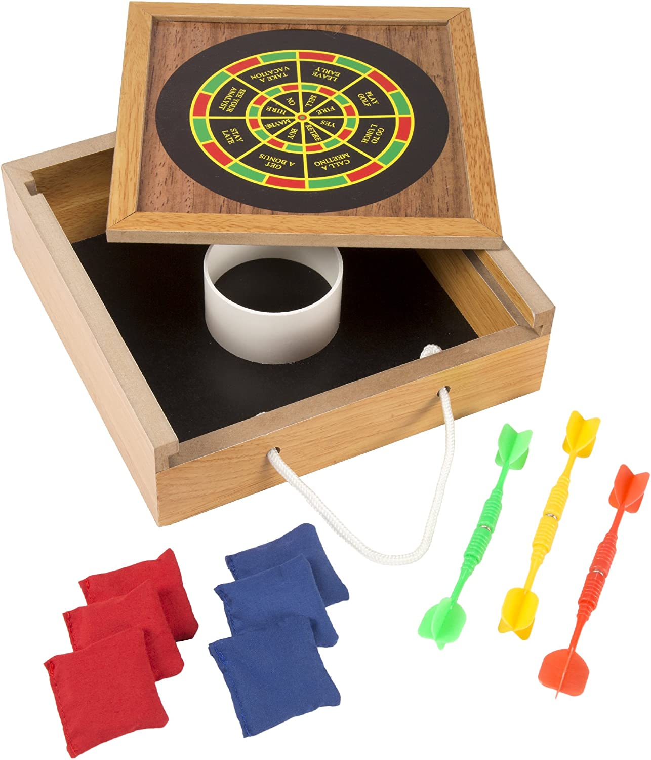 Hey! Play! Tabletop Magnetic Dart and Beanbag Toss Set – Wooden Classic Miniature Party Games with Carrying Case for Kids and Adults