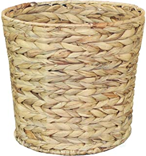 Natural Water Hyacinth Round Waste Basket   For Bathrooms, Bedrooms, Or  Offices
