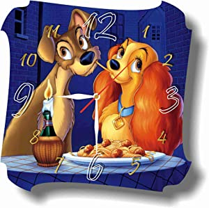 MAGIC WALL CLOCK FOR DISNEY FANS Lady and The Tramp 11.8'' Handmade Made of Acrylic Glass - Get Unique décor for Home or Office – Best Gift Ideas for Kids, Friends, Parents and Your Soul Mates
