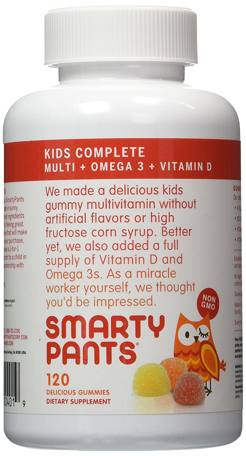 SmartyPants Children s All-in-One Multivitamin Plus Omega-3 Plus Vitamin D – 3 Pack 360 Count