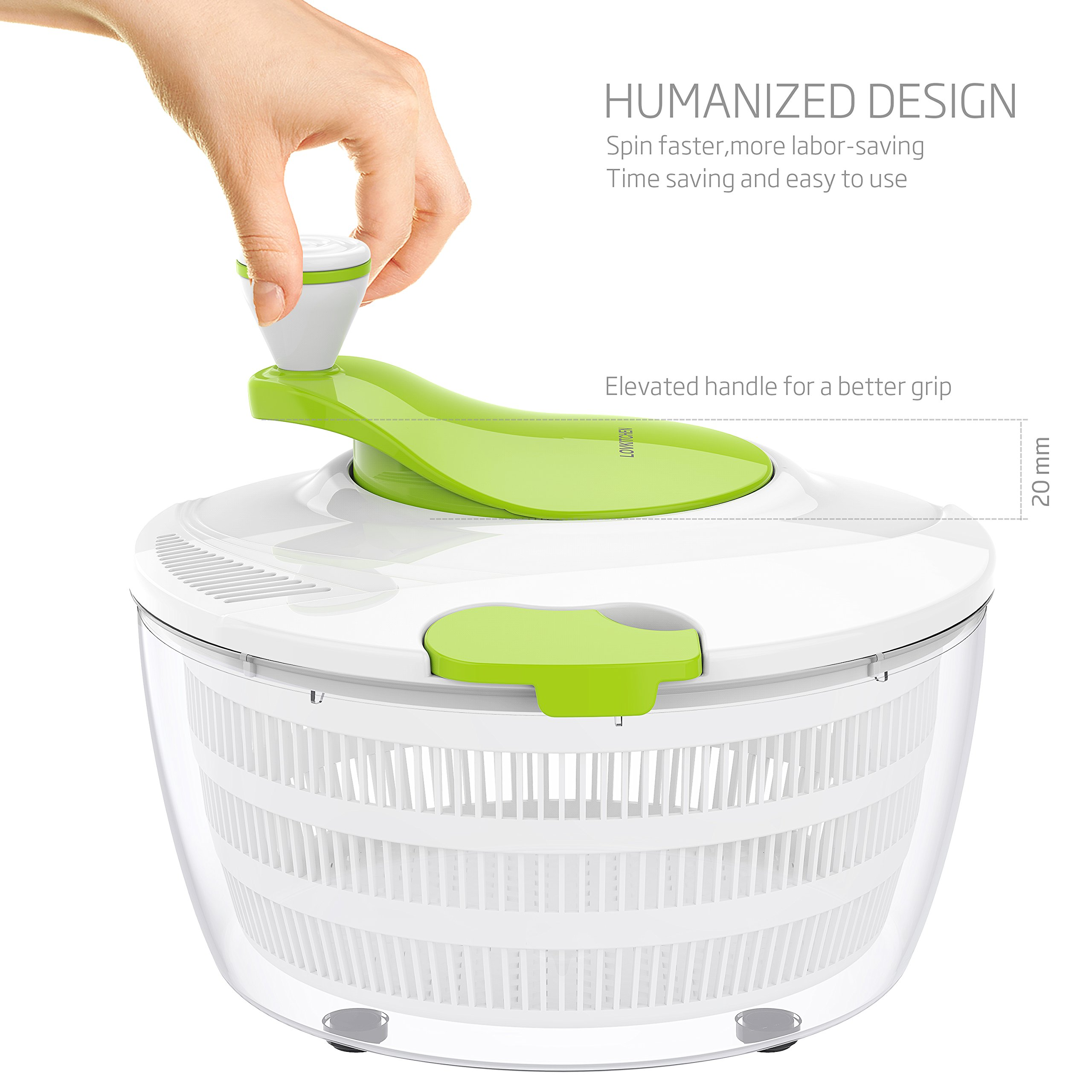 Salad Spinner LOVKITCHEN Large 4 Quarts Fruits and Vegetables Dryer Quick Dry Design BPA Free Dry Off & Drain Lettuce and Vegetable with Ease for Tastier Salads and Faster Food Prep