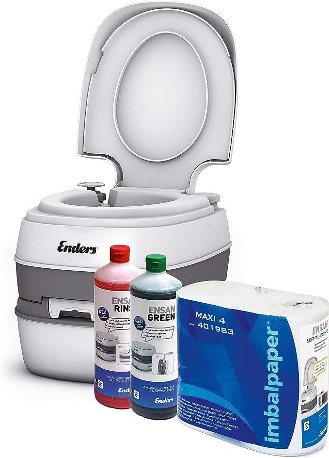 Enders Inodoro portátil para Camping, Juego Green Comfort [4944]: WC químico con líquido sanitorio y Papel del wáter