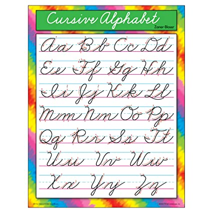 Amazon.com : TREND enterprises, Inc. Cursive Alphabet Zaner-Bloser ...
