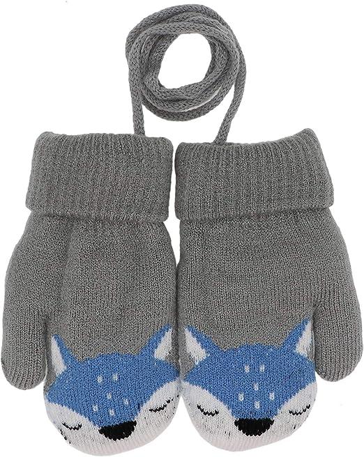 Cute Winter Warm Newborn Baby Boy Girl Kids Thick Fur Gloves Mittens On String