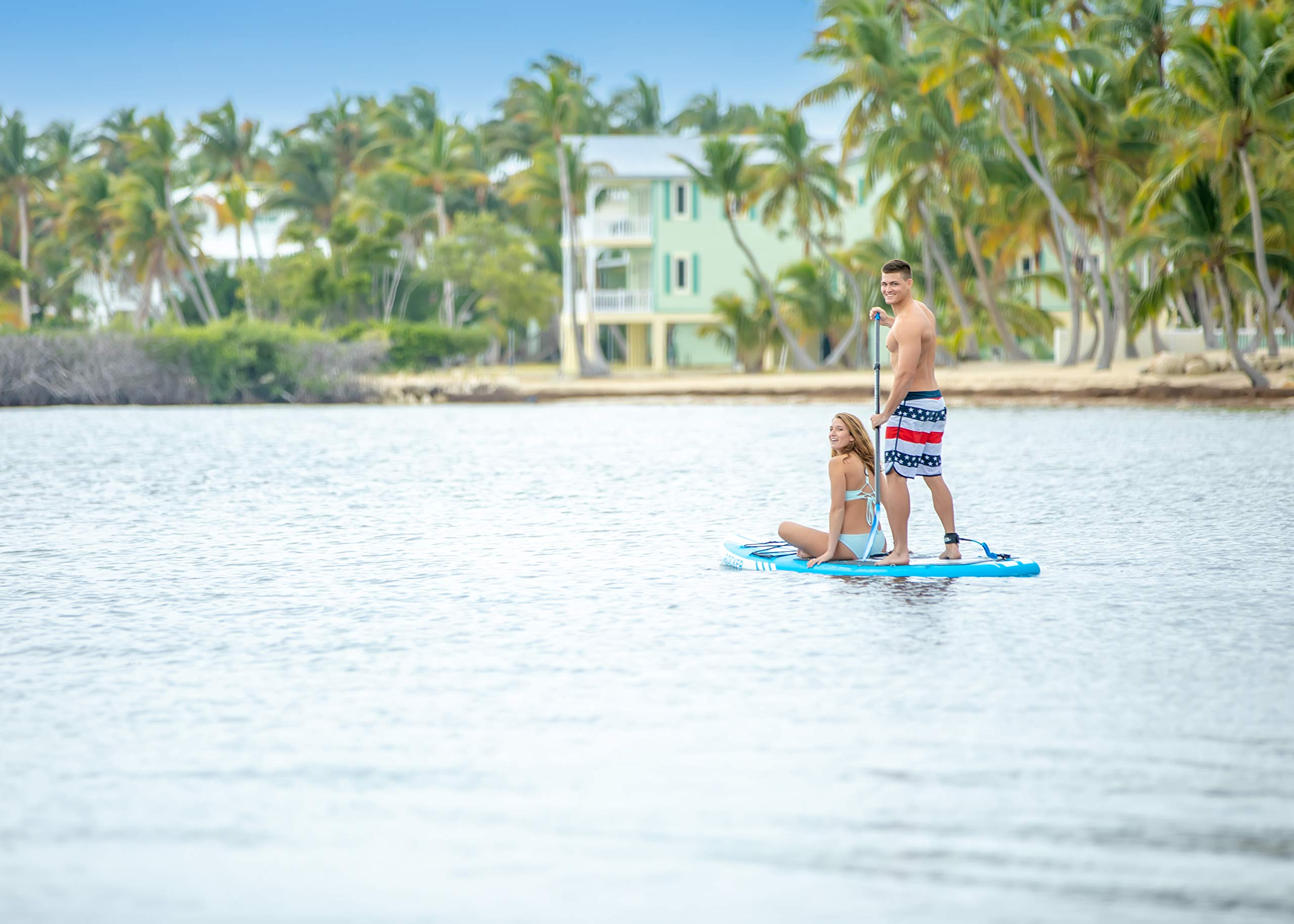 iROCKER All-Around Inflatable Stand Up Paddle Board 11' Long 32'' Wide 6'' Thick SUP Package (White/Blue Stripe 2019) by iROCKER (Image #7)