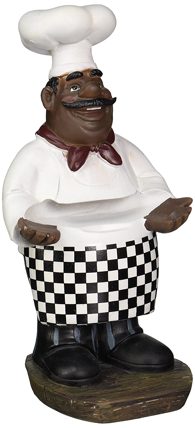 Amazon.com: African American Fat Chef Kitchen Figure Statue Holding Serving  Plate D64246: Home U0026 Kitchen