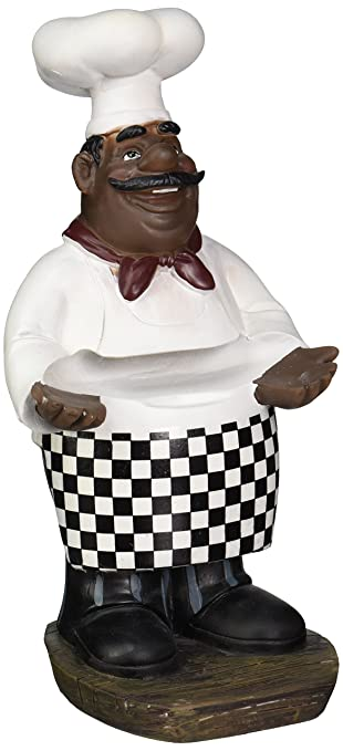 African American Fat Chef Kitchen Figure Statue Holding Serving Plate D64246