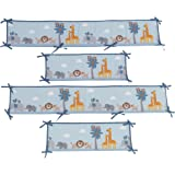 Bedtime Originals Two By Two Noah's Ark 4 Piece Crib Bumper, Blue/Gray