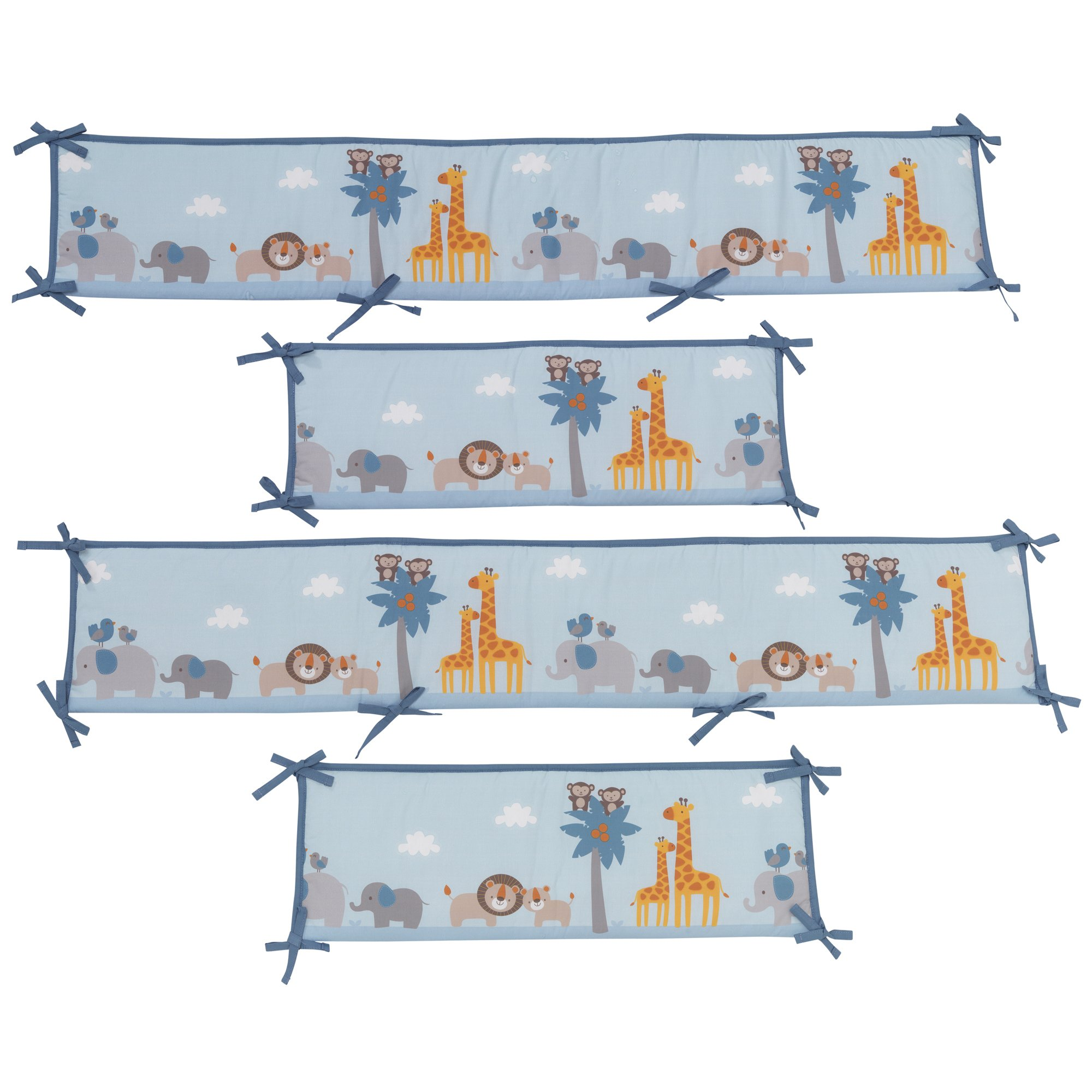 Bedtime Originals Two By Two Noah's Ark 4 Piece Crib Bumper, Blue/Gray