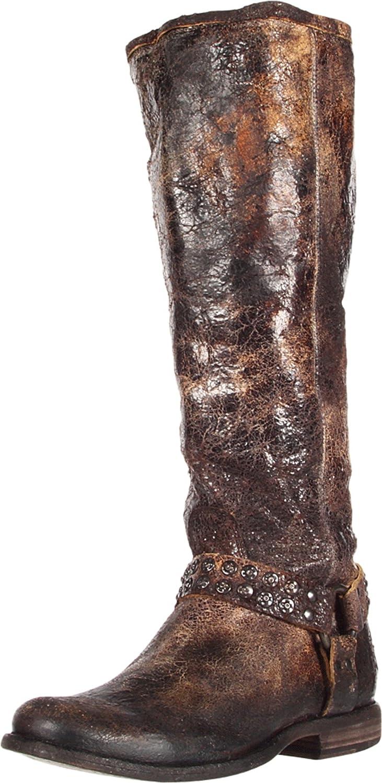 FRYE Women's Phillip Studded Harness Tall Boot B006NZG4XS 6.5 B(M) US|Chocolate Glazed Vintage Leather