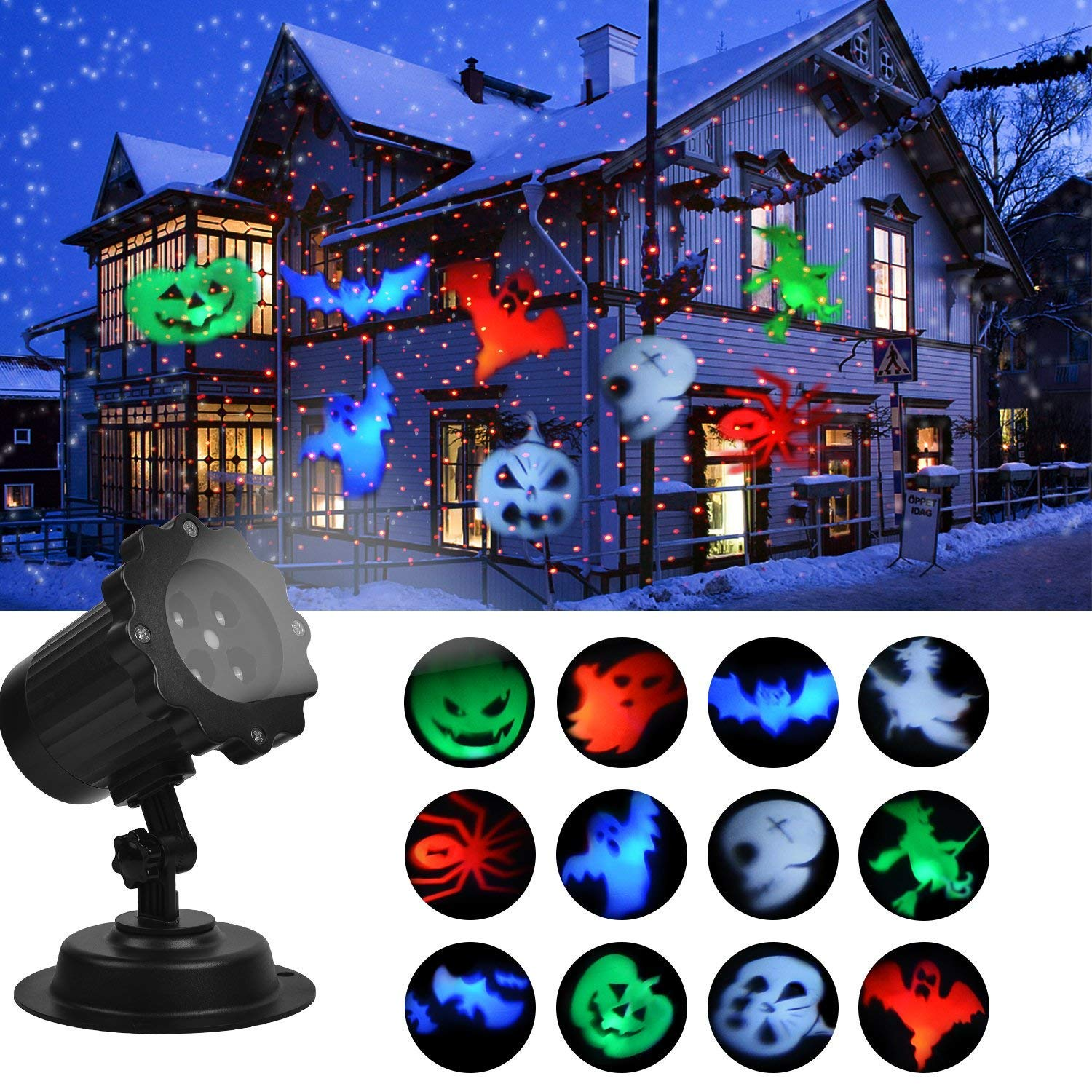 Halloween Decoration Light, Projector Lights Show with Red Dot, Led Landscape Super Bright Spotlight, Waterproof Automatic Rotating Outdoor and Indoor Decoration Holiday Lights