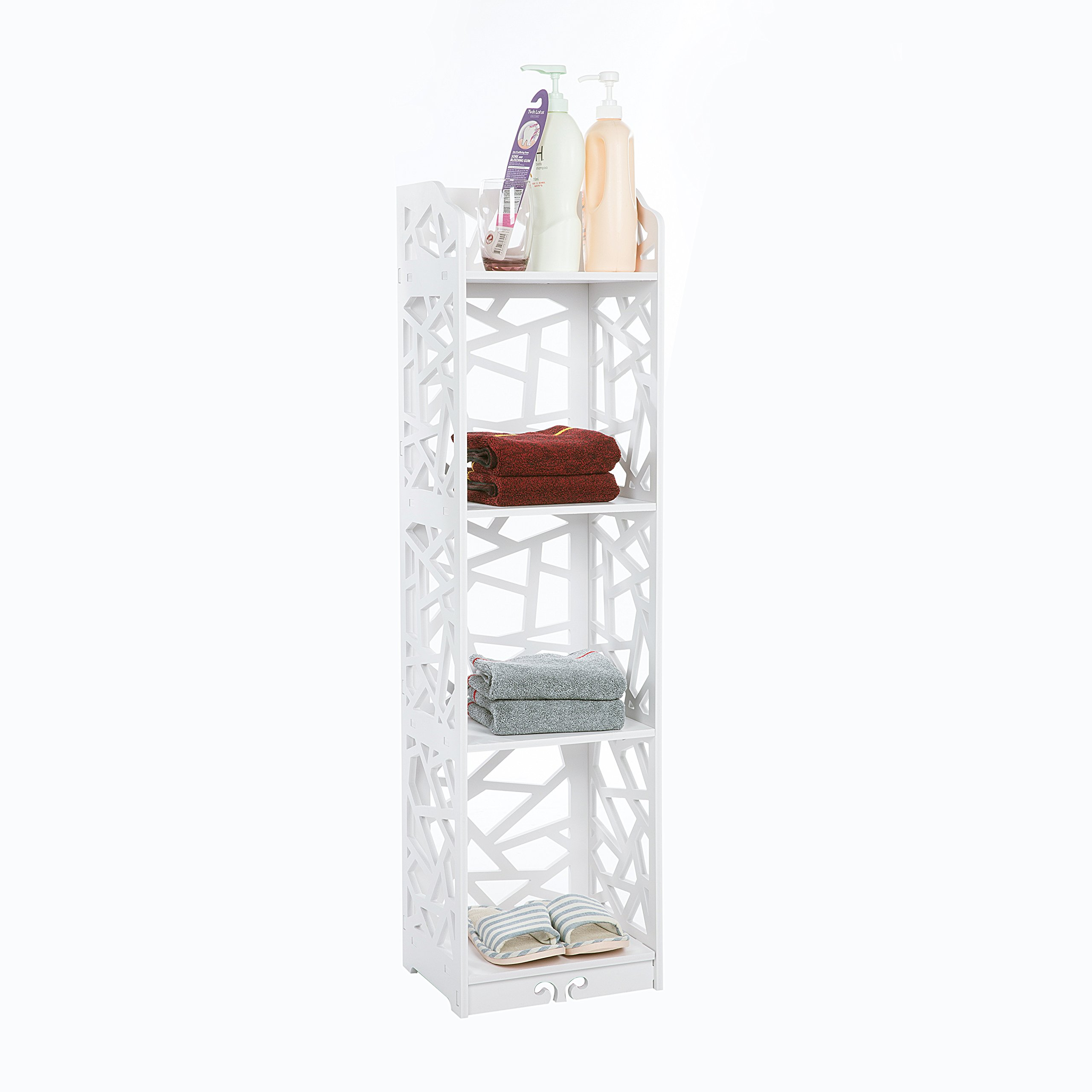 C&AHOME 4-Tier Bathroom Storage Shelf Units Bookcase Made from Fireproof Compsite of Wood & Plasitc
