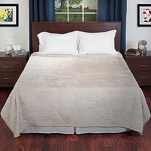 BH Solid Soft Heavy Thick Plush Mink Blanket 8 Pound - Beige