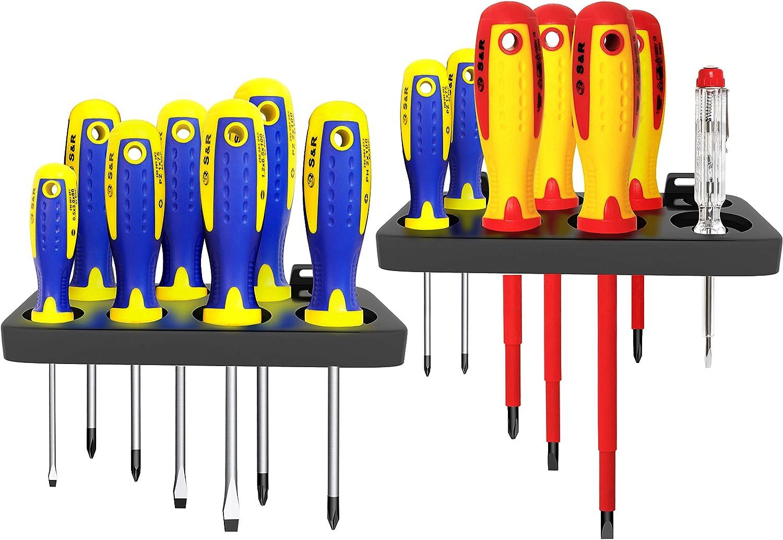 S&R Juego de 14 destornilladores aislados electricista. Destornilladores magneticos SL-PH-PZ y probador de tensión. Calidad Profesional
