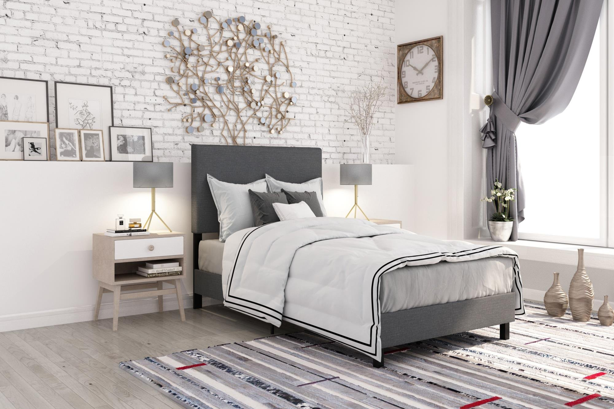 DHP 4156419 Janford Upholstered Bed with with Chic Design, Twin, Grey Linen