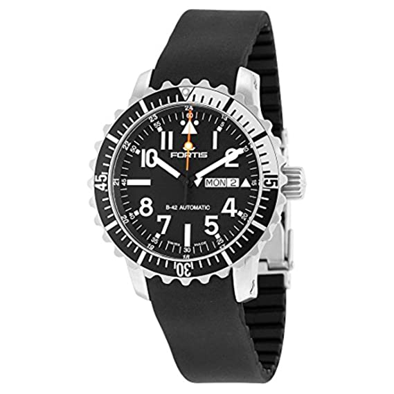 Fortis hombre 670.17.41 K B-42 Marinemaster día/fecha analógico automático para hombre negro reloj: Amazon.es: Relojes
