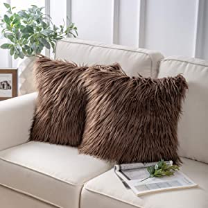 Phantoscope Pack of 2 Faux Fur Throw Pillow Covers Cushion Covers Luxury Soft Decorative Pillowcase Fuzzy Pillow Covers for Bed/Couch,Coffee 22 x 22 Inches