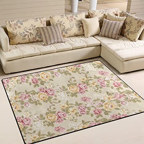 Amazon.com: ALAZA Vintage Shabby Chic Floral Area Rug Rugs for ...