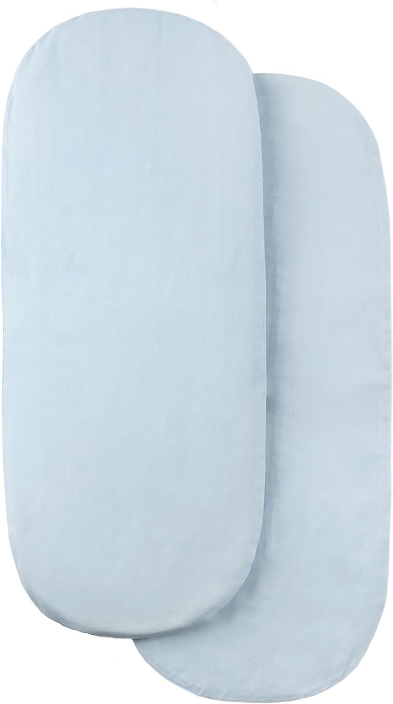 Light Blue Tadpoles Set of 2 Moses Basket Removable Cotton Covers
