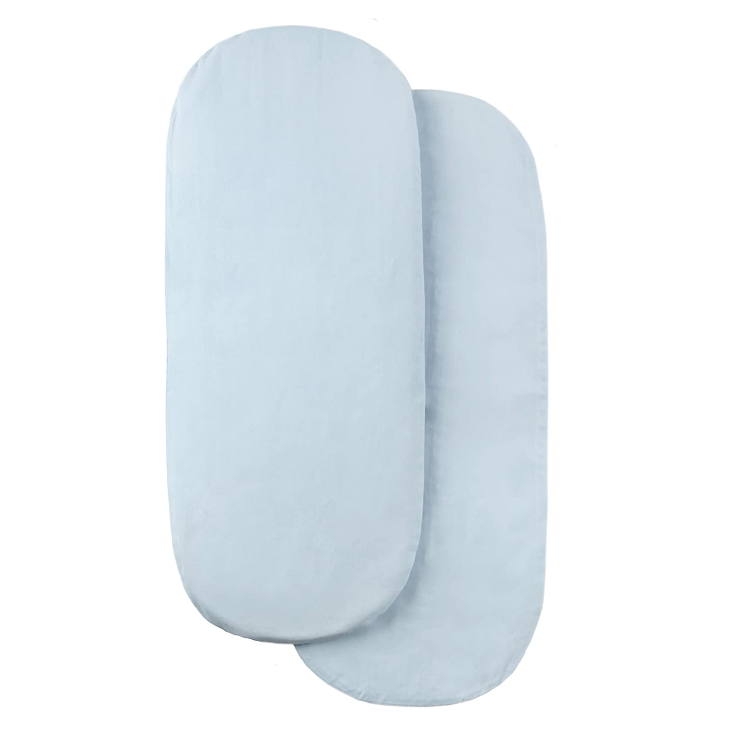 Tadpoles Set of 2 Moses Basket Removable Cotton Covers (Light Blue) Sleeping Partners