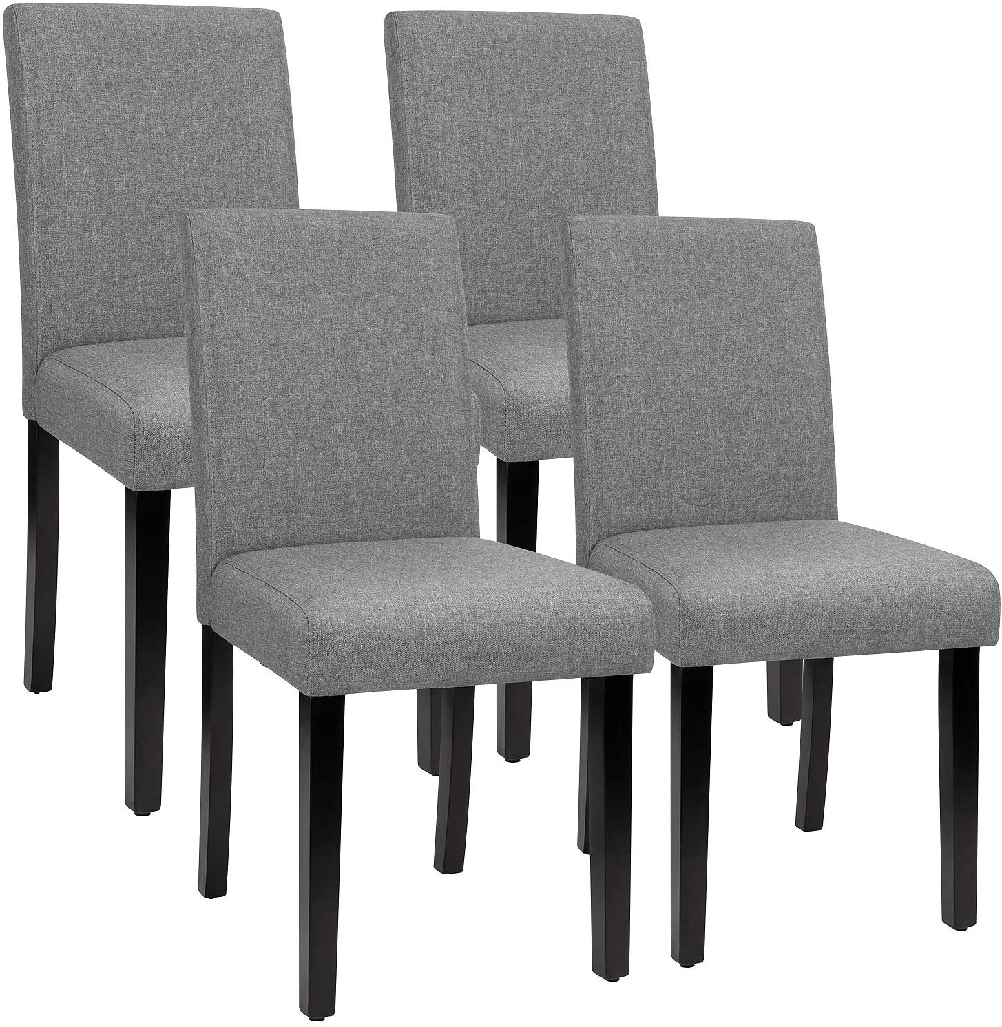 Furmax Dining Chairs Urban Style Fabric Parson Chairs Kitchen Living Room  Armless Side Chair with Solid Wood Legs Set of 10 (Gray)