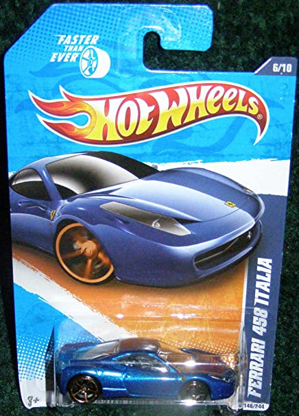2011 Hot Wheels Faster Than Ever 11 610 Blue Ferrari 458 Italia 146244