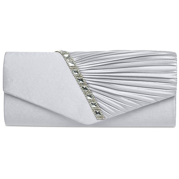 f6160cb820 CASPAR TA391 Donna Pochette Elegante in Raso con Strass e Drappeggio,  Colore:argento;Dimensioni:Taglia unica: Amazon.it: Abbigliamento