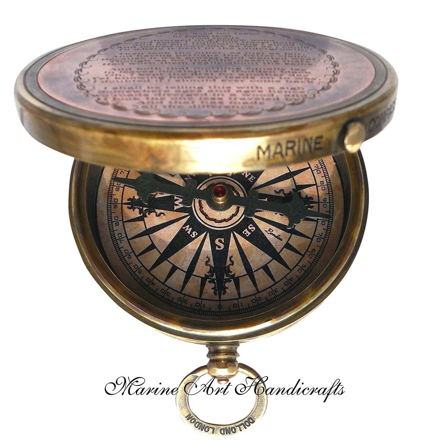 ''Robert Frost Poem'' Engraved Brass Compass with Embossed Needle & with Leather Case. C-3241 Marine Art Handicrafts