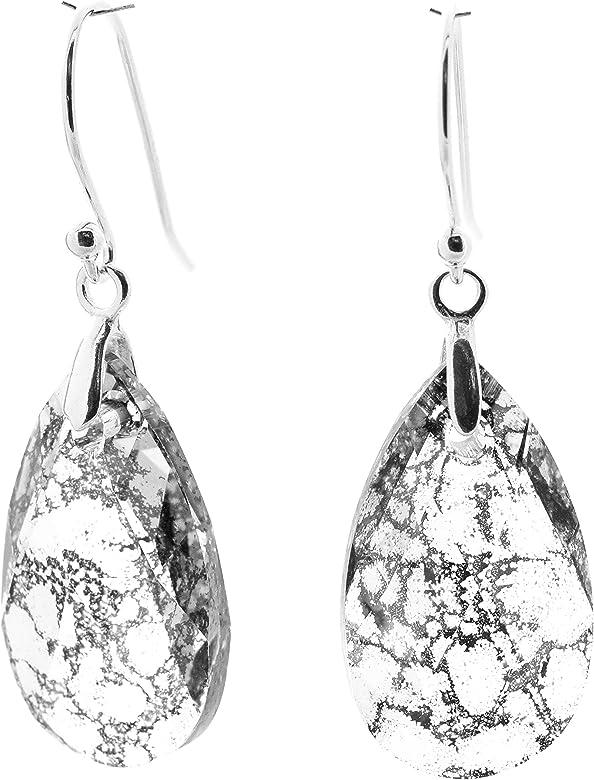 925 Plata Esterlina Aretes Cristales de Swarovski ® Rivoli pátina-Blanco