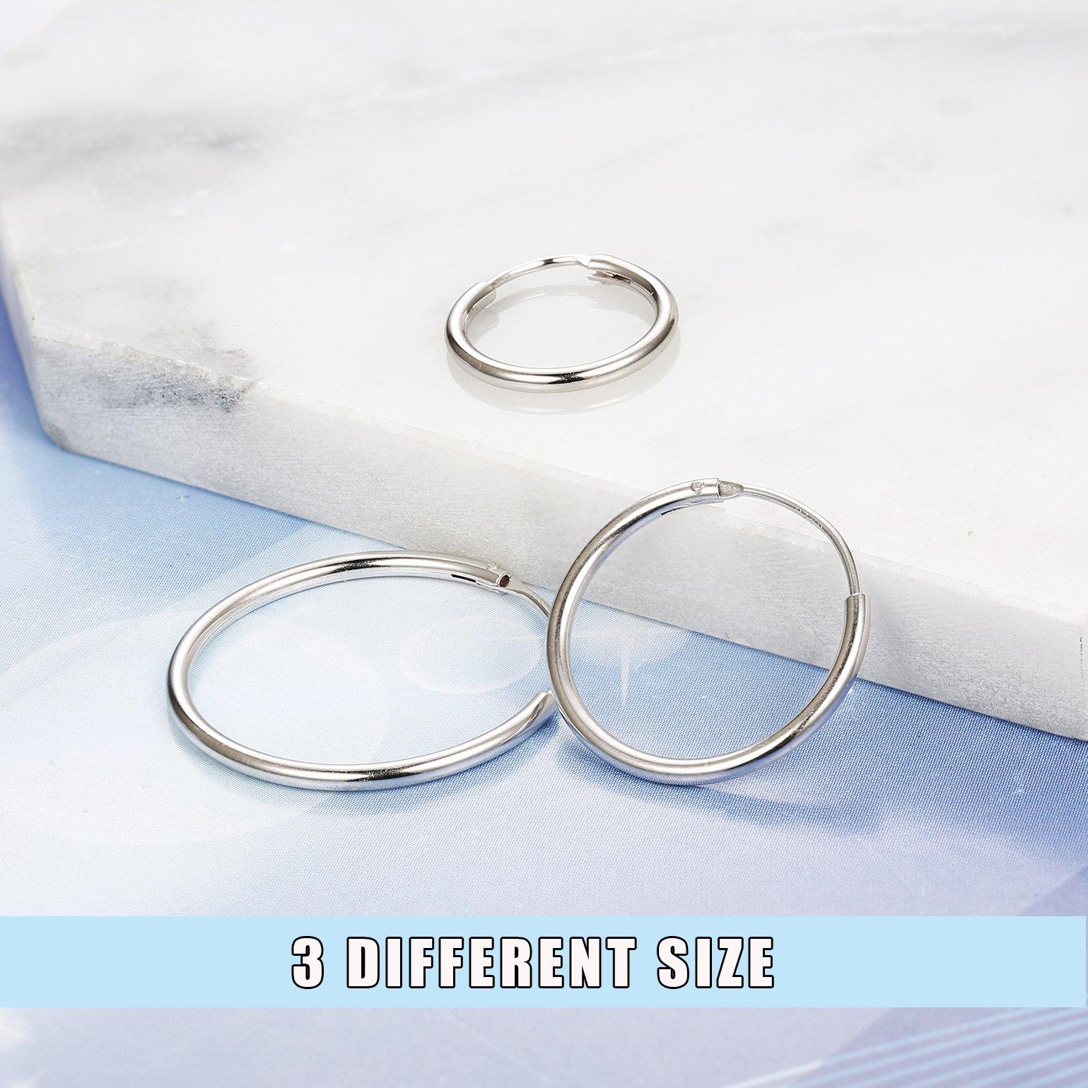 FUNRUN JEWELRY 3 Pairs Sterling Silver Hoop Earrings for Women Men Round Earrings Set 10-40MM (B: Platinum-Plated 3 Pairs: 20MM/30MM/40MM) by FUNRUN JEWELRY (Image #4)
