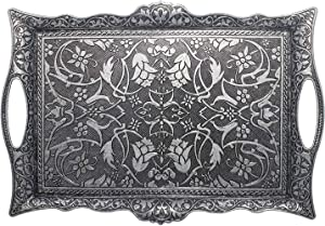 Turkish Ottoman Coffee Tea Beverage Serving Square Tray (Black)