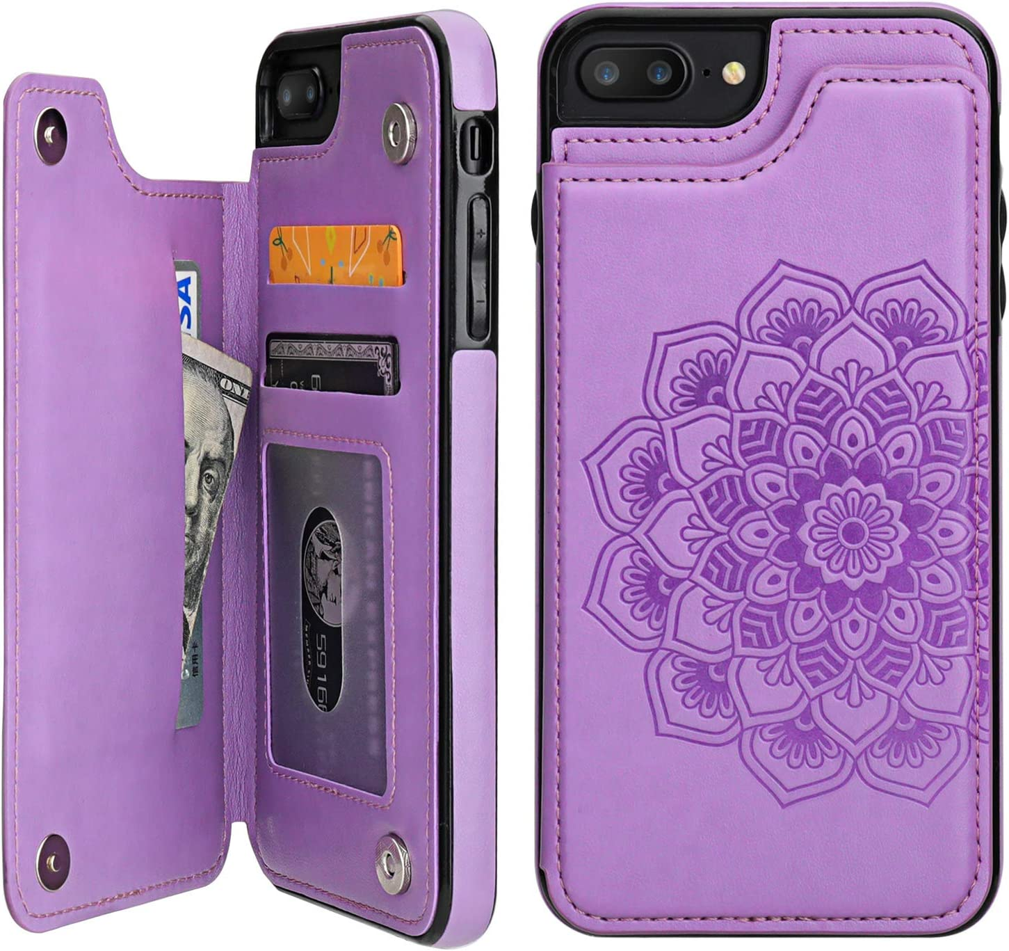 Vaburs iPhone 7 Plus iPhone 8 Plus Case Wallet with Card Holder, Embossed Mandala Pattern Flower Premium PU Leather Double Magnetic Buttons Flip Shockproof Protective Case(Purple)