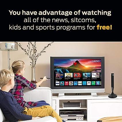 Antena de TV digital para interiores – Antena HDTV con amplificador de señal para canales locales 4K HD con cable coaxial Ultra alta definición TV, amplificado rango de 120 millas Ultra 4K