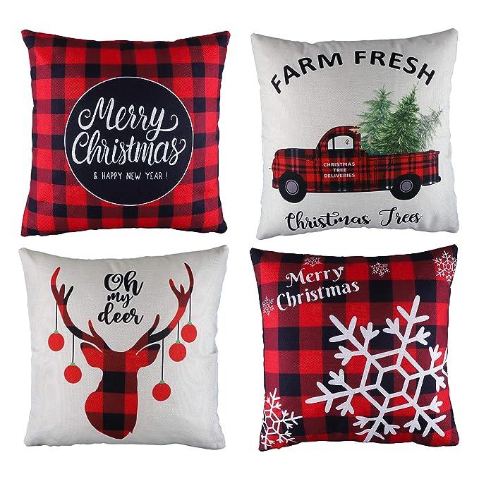 Amazon.com: Antner - 4 fundas de almohada de Navidad con ...