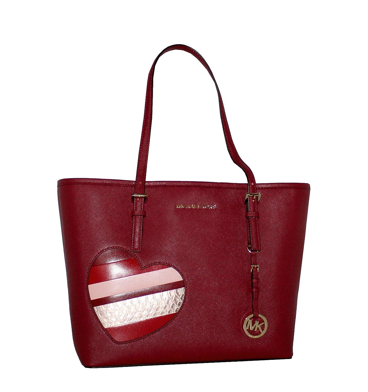 3621515cf5d4 Amazon.com: MICHAEL Michael Kors Women's HEARTS Jet Set Travel MEDIUM  Leather Carry All Tote Handbag (Cherry): Shoes